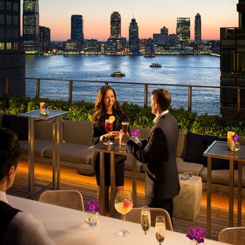 Sixteen stories up, the hotel's Loopy Doopy Rooftop Bar provides delicious libations and views of the Hudson River.