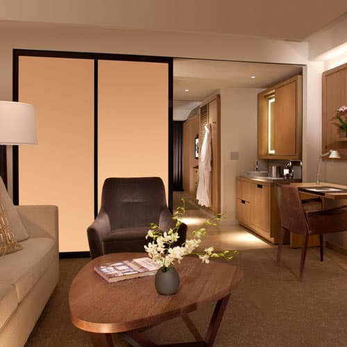Indulge in extra space with each of our guest suites, featuring two-room layouts and separate living areas.